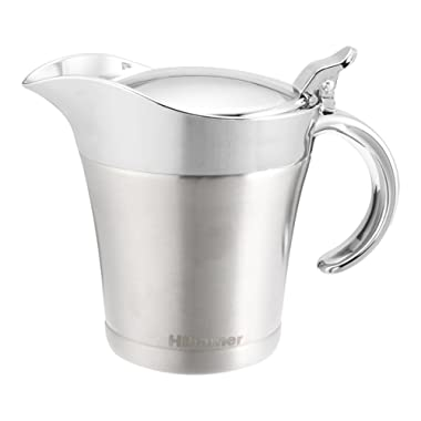 Hihamer Gravy Boat, Insulated Stainless Steel Sauce Jug Server with Hinged Lid, 17 Oz Capacity, Perfect For Family Dinner Holiday Season
