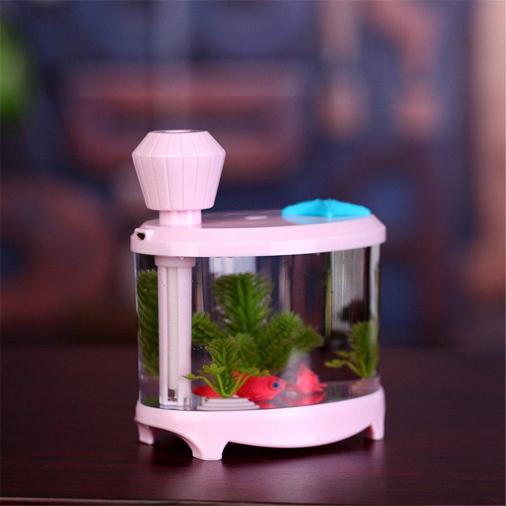 Garyesh 460 ml Diseño Acuario Pecera Mini USB Humidificador Ultrasónico Difusor de Vapor para Office/Dormitorio (Azul): Amazon.es: Hogar
