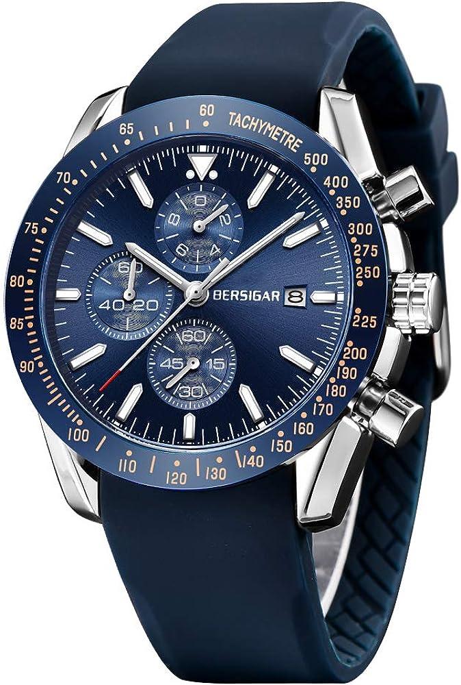 BERSIGAR Negocio de los Hombres Casual Cronógrafo Cuarzo Impermeable Reloj de Pulsera