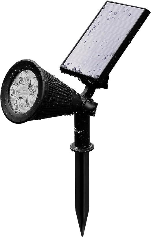 Kealive Lámpara Solar, Spotlight LED Exterior, 5 LED Bulbs, 2W, Resistente al Agua, 2 Modos de Funcionamiento, Adecuado para Patio, Jardín, Villa, Parque(LT-KL1): Amazon.es: Iluminación