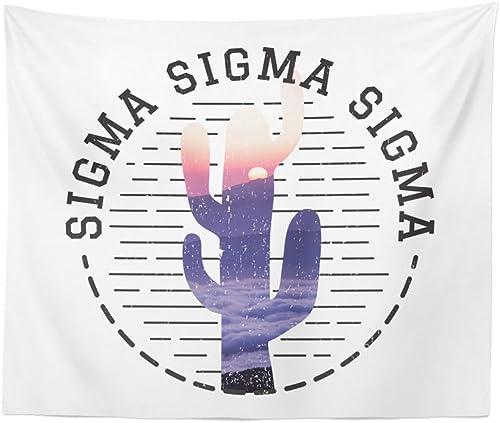 Sigma Sigma Sigma Water Color Cactus Dorm Apartment Wall Tapestry 60 Inches x 80 Inches Tri-Sigma