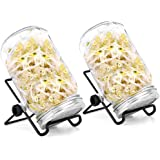 IUMÉ Seed Sprouting Kit Includes 2 Sprouter Mason Jars,Sprouting Lids and Stands Decorative Indoor Seed Sprouter and…
