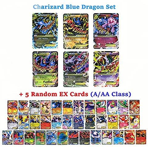 Set of 6 Mega EX Cards Charizard X Version + 5 EX Cards (A/AA Class Random)