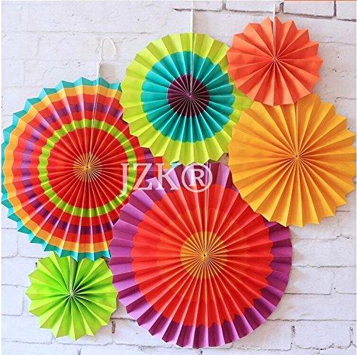 19 opinioni per JZK® 6 x Ventaglio rotondo decorativo carta festoni colorato appeso decorazioni