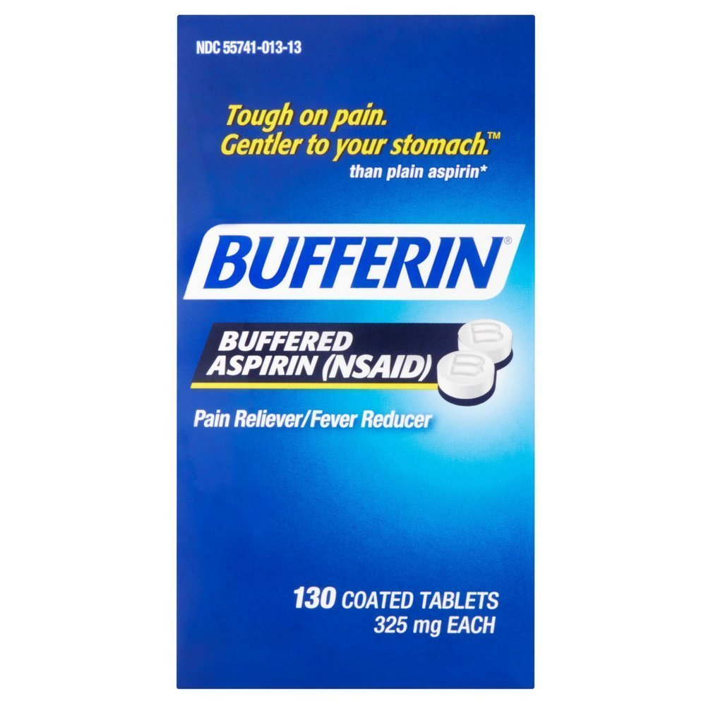 Bufferin Buffered Aspirin (NSAID) Coated Tablets Pain Reliever/Fever Reducer 130 ea (Pack of 4)