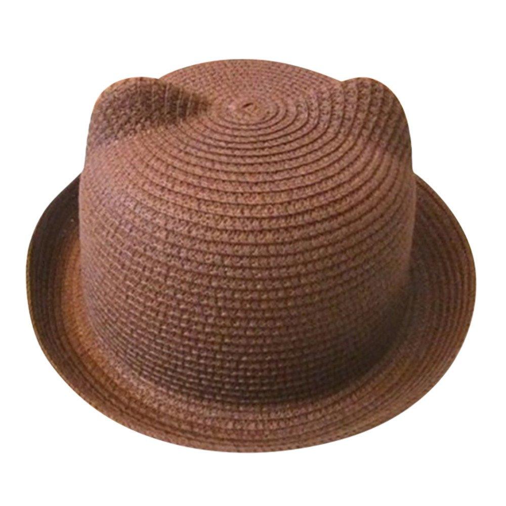 2019 Summer Baby Girls Boys Straw Sun Hat Cap Cuekondy Kids Children Cute Cat Ears Bucket Hat Beach Sun Protection Hat