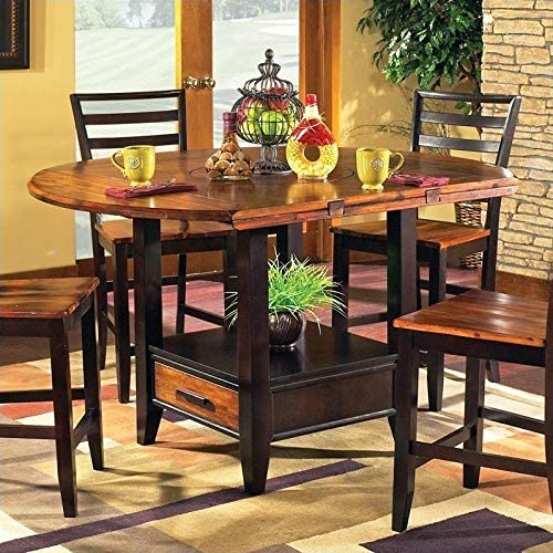 Steve Silver Abaco Drop Leaf Counter Height Dining Table In Acacia Tables