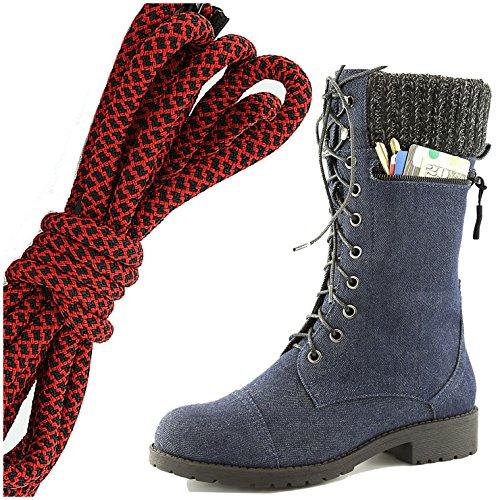 Dailyshoes Womens Style De Combat Lacets Bottine Bout Rond Bout Militaire Carte De Crédit Couteau Argent Portefeuilles De Poche, Rouge Noir Bleu Denim
