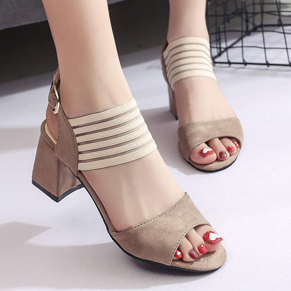 Ladies Pumps Sandals,Womens Fish Mouth Sandals Non-Slip Peep Toe Fashion Belt Buckle Chunky Heel Sandals