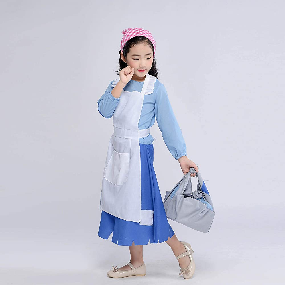 2 Sizes Colonial Village Girl Child Costume Blue