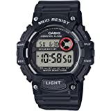 Casio Mud Resistant Stainless Steel Quartz Watch with Resin Strap, Black, 27.6 (Model: TRT-110H-1AVCF)