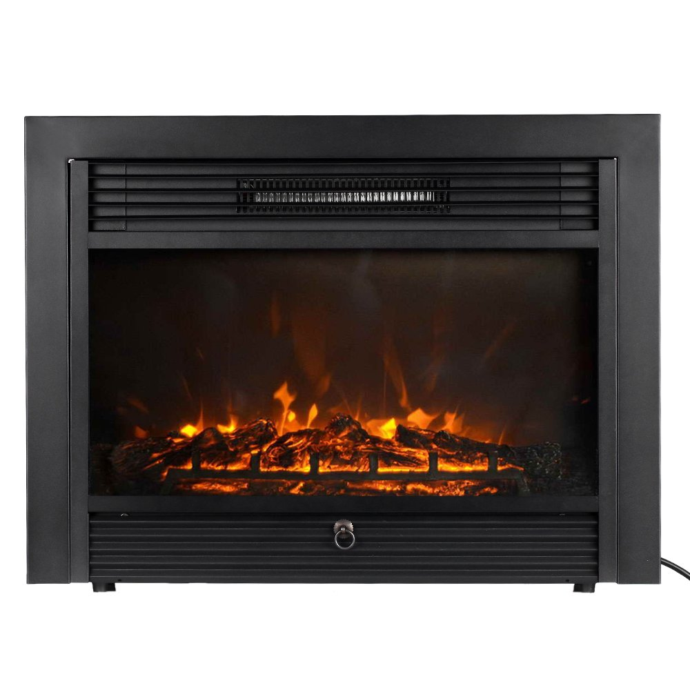 Homgeek Embedded Electric Fireplace Insert Heater Adjustable LED Flame with Remote, 1500W Heater, Black, 28.7'' L x 21'' W