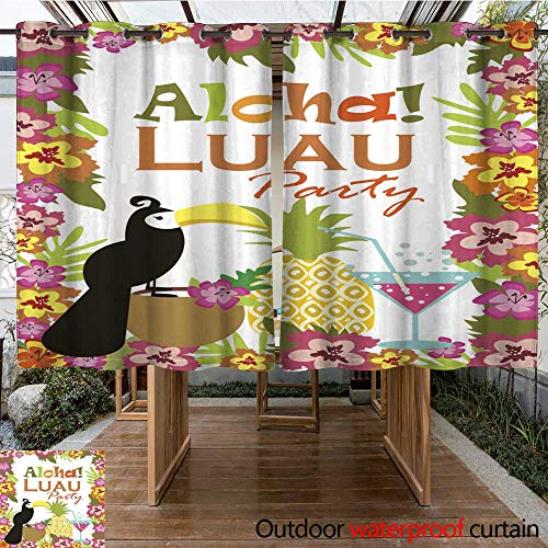 RenteriaDecor Outdoor Ultraviolet Protective Curtains Luau Party Invitation Card W84 x L72