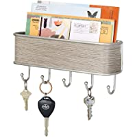 mDesign Modern Mail Holder and Key Rack - Rust Resistant Steel Wall Mounted Mail Organiser - Mail File in Cream and Grey