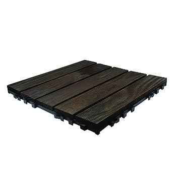 9 Pack Dark Wooden Click Deck Floor Tiles Patio Balcony Roof