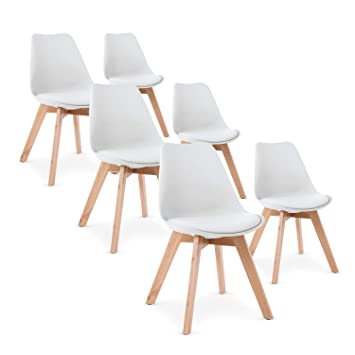 INTENSEDECO Lot De 6 Chaises Style Scandinave Catherina Blanc