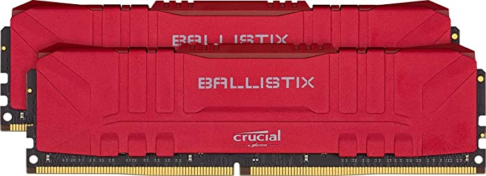 Crucial Ballistix 3200 MHz DDR4 DRAM Desktop Gaming Memory Kit 32GB (16GBx2) CL16 BL2K16G32C16U4R (RED)