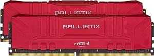 Crucial Ballistix BL2K16G36C16U4R 3600 MHz, DDR4, DRAM, Memoria Gamer para Ordenadores de sobremesa, 32GB (16GB x2), CL16, Rojo
