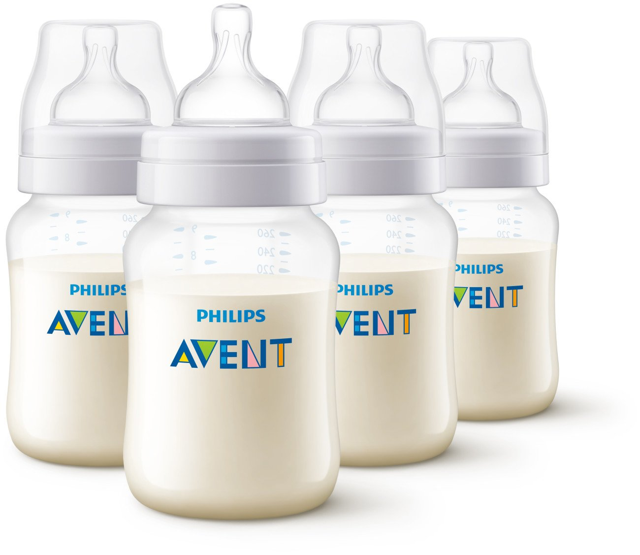 Philips Avent Anti-Colic Baby Bottles Clear, 9oz 4 Piece