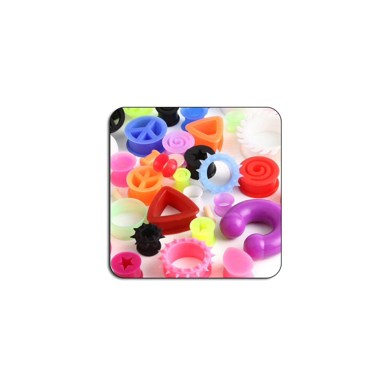 Bubble Body Piercing Specials - Value Pack Of Mix Silicone Tunnels Plugs Expanders And Circulars - Pack Of 50Pcs
