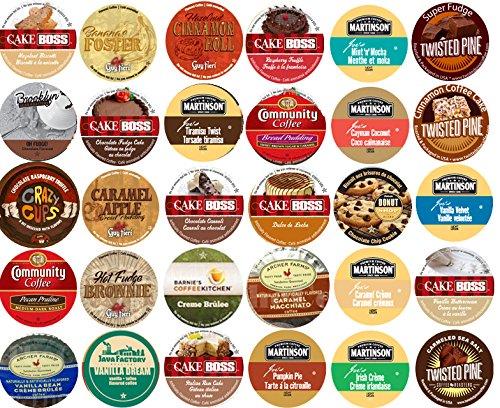 30 Cup Devine DESSERT Flavored Coffee Sampler! Spiced Rum Cake, Italian Rum Cake, Pumpkin Pie, Cinnamon Roll ++ Delicious! 30 UNIQUE ()