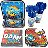 Superhero Party Supplies Packs (113+ Pieces for 16 Guests!), Superhero Party Supplies, Superhero Birthday, Tableware