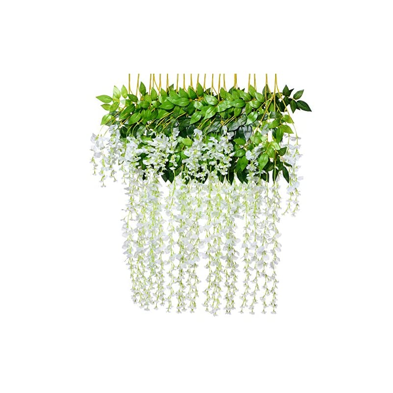 silk flower arrangements artiflr 8pcs artificial fake wisteria vine garland-greendec 3.6ft/piece silk wisteria vine ratta hanging flower for home garden wedding decor,(white)