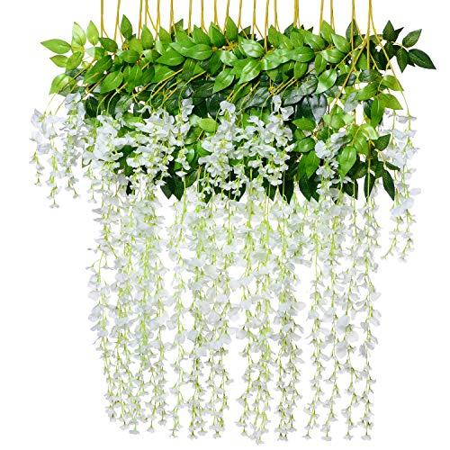 8pcs Artificial Fake Wisteria Vine Garland - Artiflr 3.6feet/Piece Silk Wisteria Vine Ratta Hanging Flower for Home Garden Wedding Decor ()
