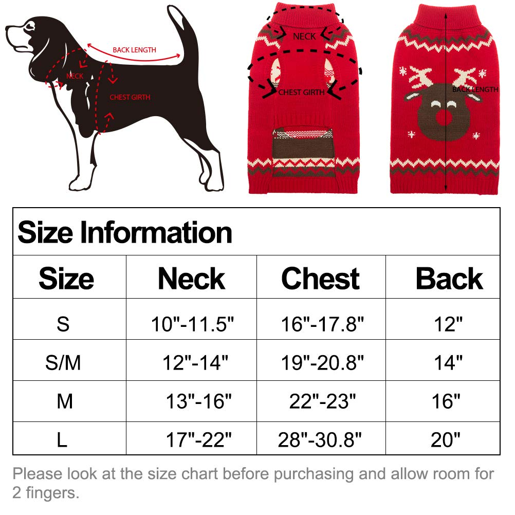 OFPUPPY Dog Sweater Red Christmas Style Puppy Winter Coat for Girl and Boy Pets from Small to Large Size