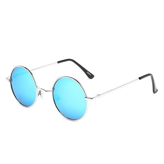 5757d7c345 Amazon.com  NIEEPA John Lennon Vintage Round Polarized Hippie Sunglasses  Small Circle Metal Driving Sun Glasses (Blue Lens Silver Frame)  Clothing