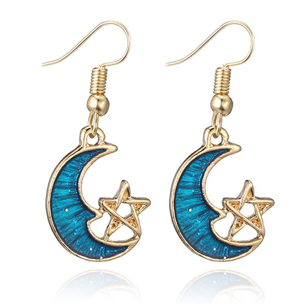YOMXL Star Moon Earrings,Blue Theme Long Pendant Dangle Drop Hook Earrings Romantic Valentine Gift Jewelry for Woman Girls (D)