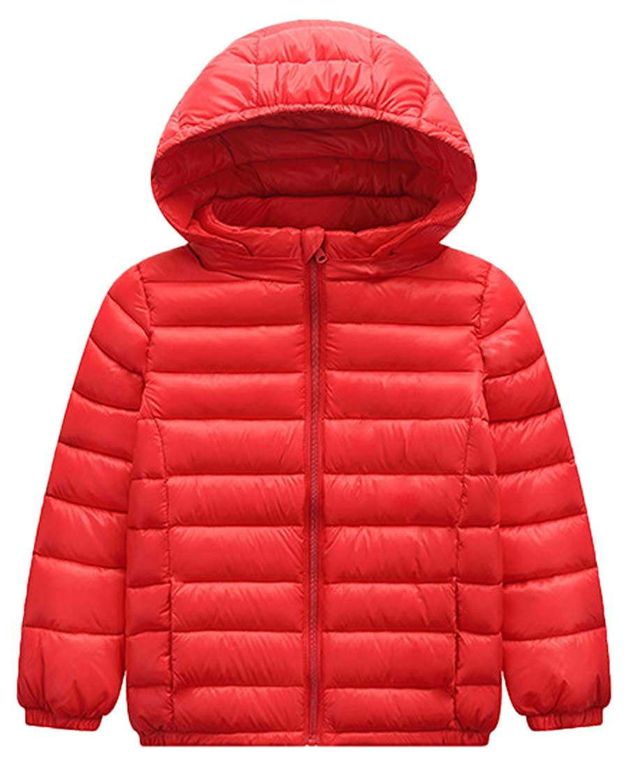 Capturelove Boys Solid Lightweight Hooded Puffer Down Coat Jacket
