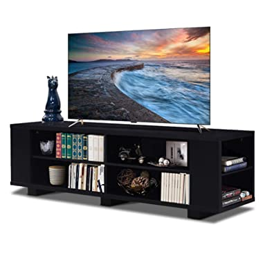 Tangkula TV Stand, Modern Wood Storage Console Entertainment Center for TV up to 60 , Home Living Room Furniture with 8 Open Storage Shelves (Black)