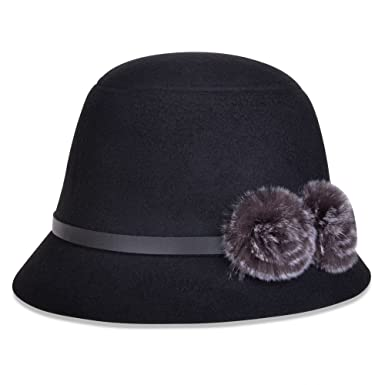 1ba8cca919109 Vbiger Bowler Hat Fedora Derby Hats Vintage Cloche Hats Bucket Hats for  Women (Black2)  Amazon.in  Clothing   Accessories