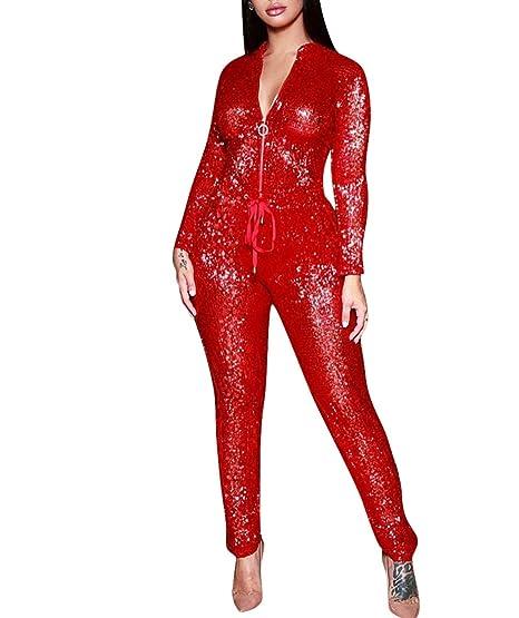 88e05d389469 Amazon.com  Women Sparkly Sequins Outfits Jumpsuit Set