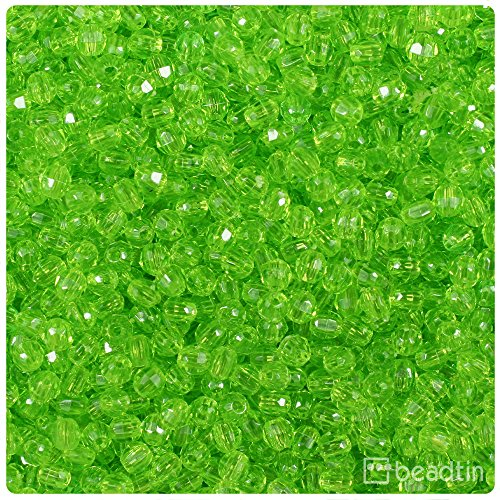 BeadTin Lime Green Transparent 4mm Faceted Round Craft Beads