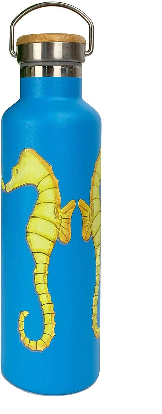 Natural Bamboo Lid Seahorses Beachcomber Blue Water Stainless Steel Water Bottle Double Wall Insulated