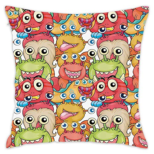 """EDG Big Monsters Cute Aliens Kids Boys Girls Playroom Nursery Cartoon Characters Trippy Print 18"""" x 18"""" Removable and Washable Pillow Case"""