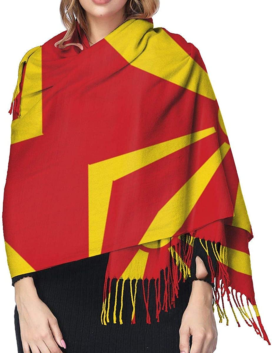 Macedonia Flag Cashmere Scarf Shawl Wraps Super Soft Warm Tassel Scarves For Women Office Worker Travel