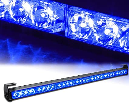 """32/"""" RED//BLUE 28 LED Emergency Warning Strobe Light Traffic Advisor 13 Pattern"""