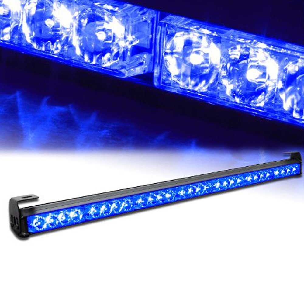 Xprite 31.5'' 28 LED 7 Modes Traffic Advisor Emergency Warning Vehicle Strobe Light Bar Kit (Blue)