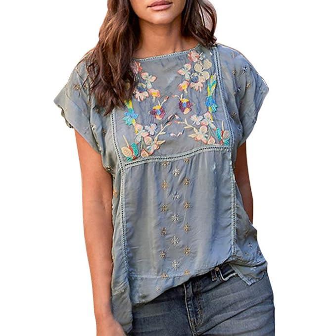 Amazon.com: Camiseta de manga corta con estampado de bordado ...