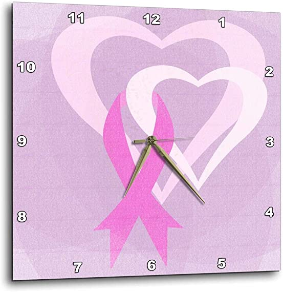 3dRose DPP_79099_1 Pink Ribbon Hearts Breast Cancer Awareness Inspirational Art Wall Clock, 10 by 10