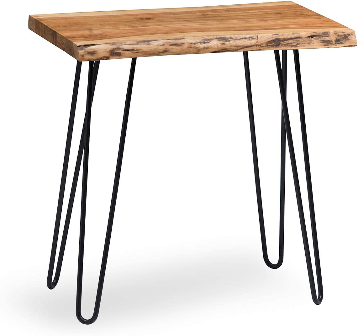 Alaterre Furniture Hairpin Natural End Table, Live Edge