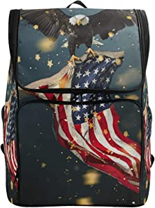 Naanle 3D Stylish Vulture Flying Carrying USA Flag Casual Daypack,College Student Bookbags Large Travel Multipurpose Bag Padded Laptop Bag Fits 15.6 inch Notebook