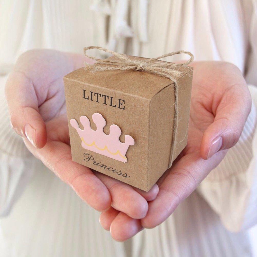 JZK 50 x Peu Princesse papier kraft douche de b/éb/é bo/îtes de faveur pour fille baby shower f/ête danniversaire fille bapt/ême f/ête des nouveau-n/és