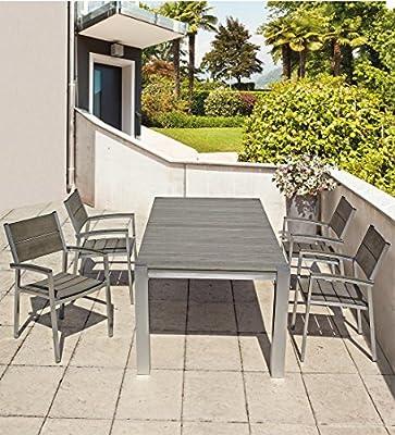 Oferta mesa 150 x 90 + 4 sillones Otis aluminio Bizzotto comedor exterior jardín: Amazon.es: Jardín