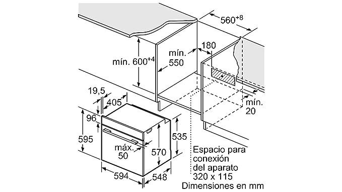 Balay 3HB5358B0 - Horno (Medio, Horno eléctrico, 71 L, 71 L, 3400 ...
