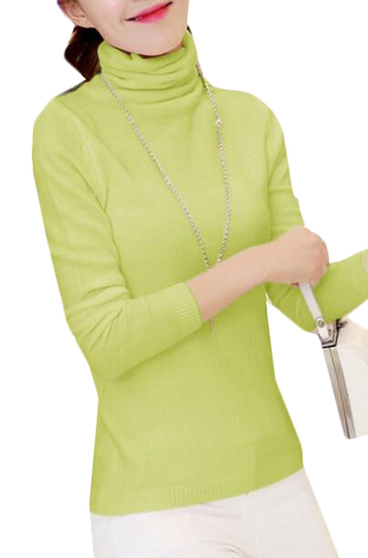 Vska Women Casual Turtleneck Long-sleeved Sweater