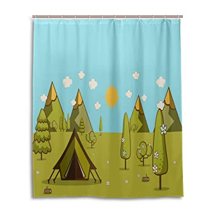 Camping Shower CurtainSolitary Weekend Theme Summer Morning Landscape In The Mountains Cartoon Image